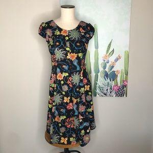 Zara Black Floral Fit and Flare Mini Dress